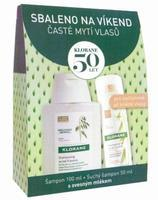 Klorane Oves šampon 100ml + suchý šampon na hnědé vlasy 50ml